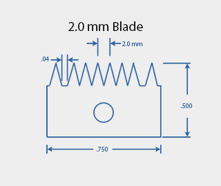 2.0 mm Cross Hatch Cutter Adhesion Test Kit Cutting Blade Diagram